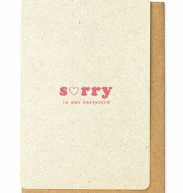 Enfant Terrible Enfant Terrible card  + enveloppe 'Sorry is een hartwoord'