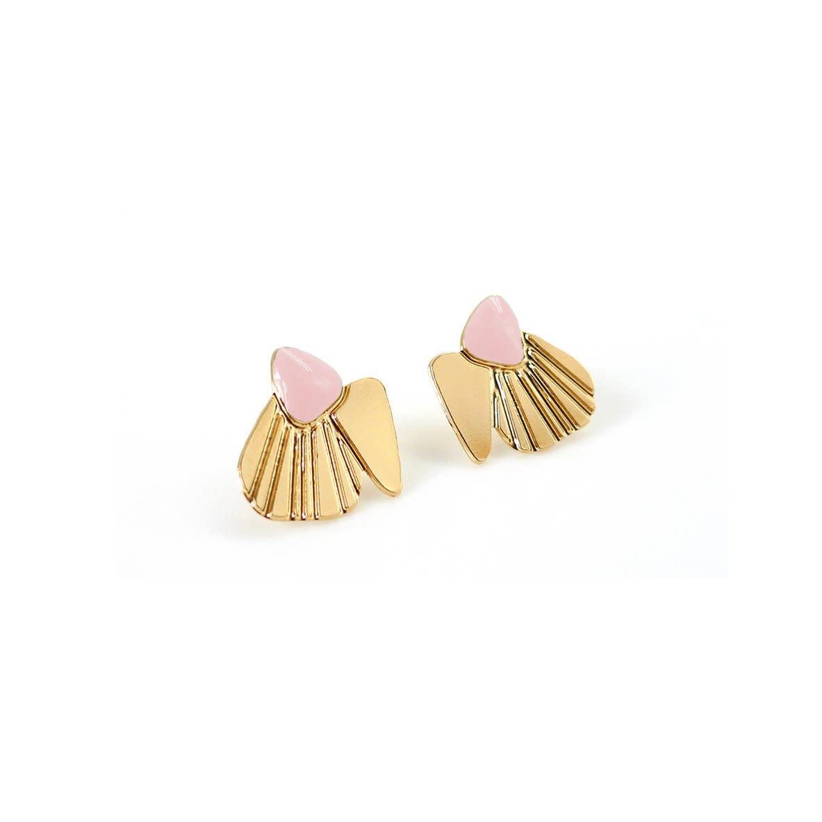 Nadja Carlotti Silver earrings Shell - Vieux rose