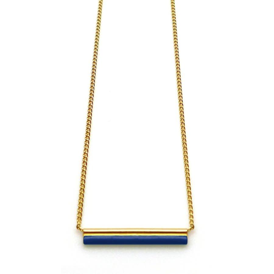 Nadja Carlotti Silver necklace Sparkle - Deep blue 38 + 3 cm