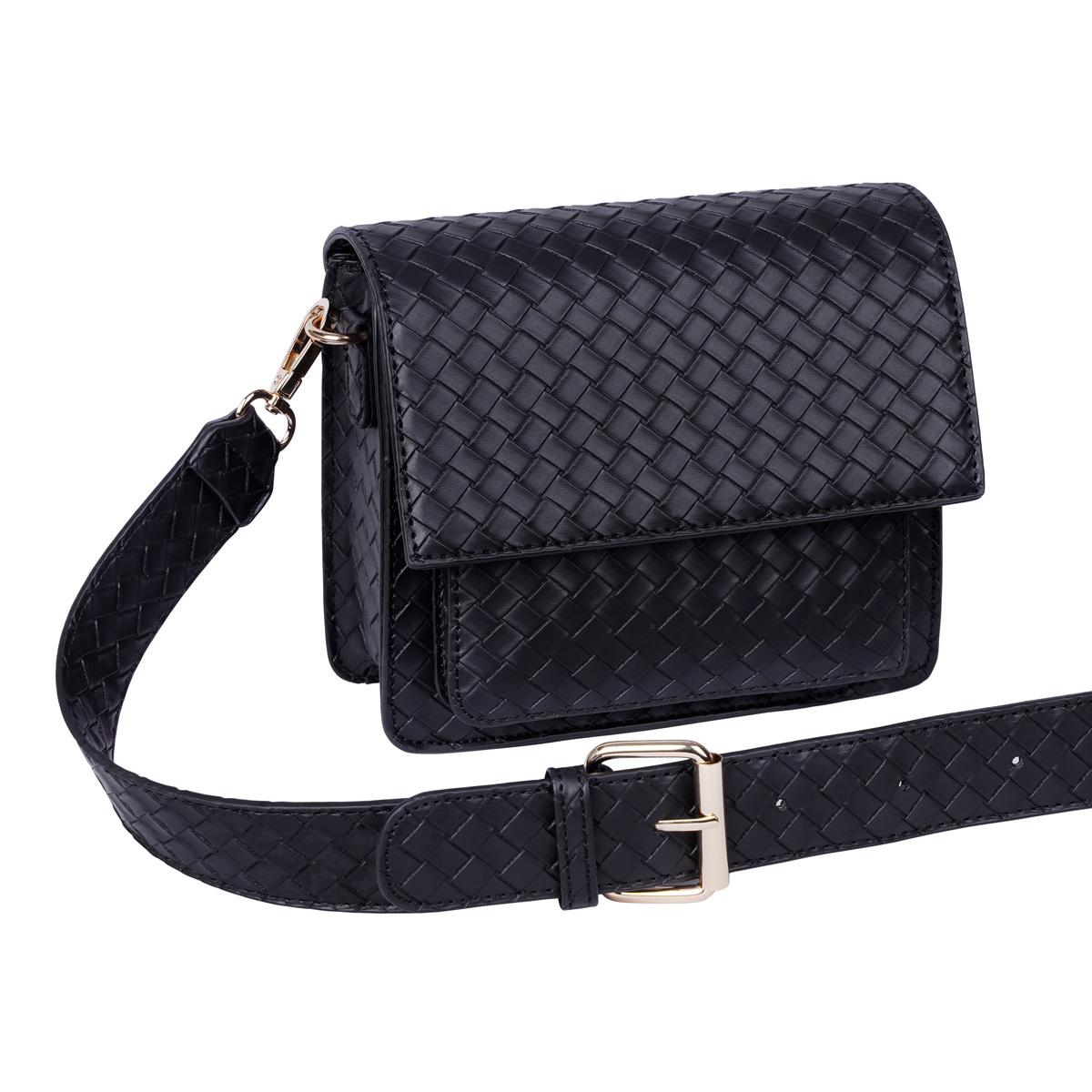 With love Bag braided  Black 18cm x 15cm