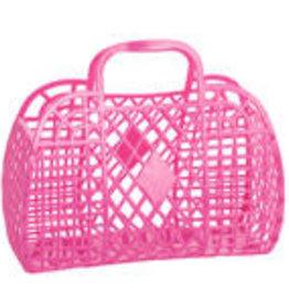 Sun Jellies Retro basket large - berry pink 35x30x14cm