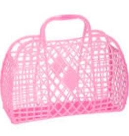 Sun Jellies Retro basket large - neon pink 35x30x14cm