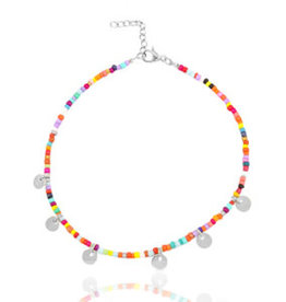With love Anklet with coins /  silver-colour (RVS)