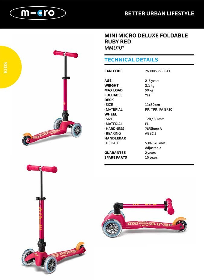Micro Mobility Mini Micro Deluxe Ruby Red Foldable 2-5 years
