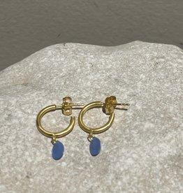 Katwalk Silver Silver earrings gold plated - blue stone