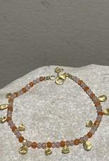 Katwalk Silver Silver bracelet gold plated - orange stones