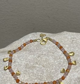 Katwalk Silver Silver bracelet gold plated - orange stones