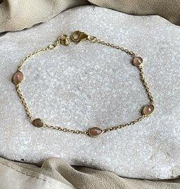Katwalk Silver Silver bracelet gold plated - pink stones