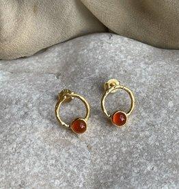 Katwalk Silver Silver earrings gold plated - orange stone
