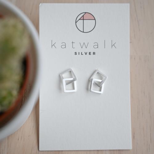 Katwalk Silver Silver earrings double square (SMEF31868)