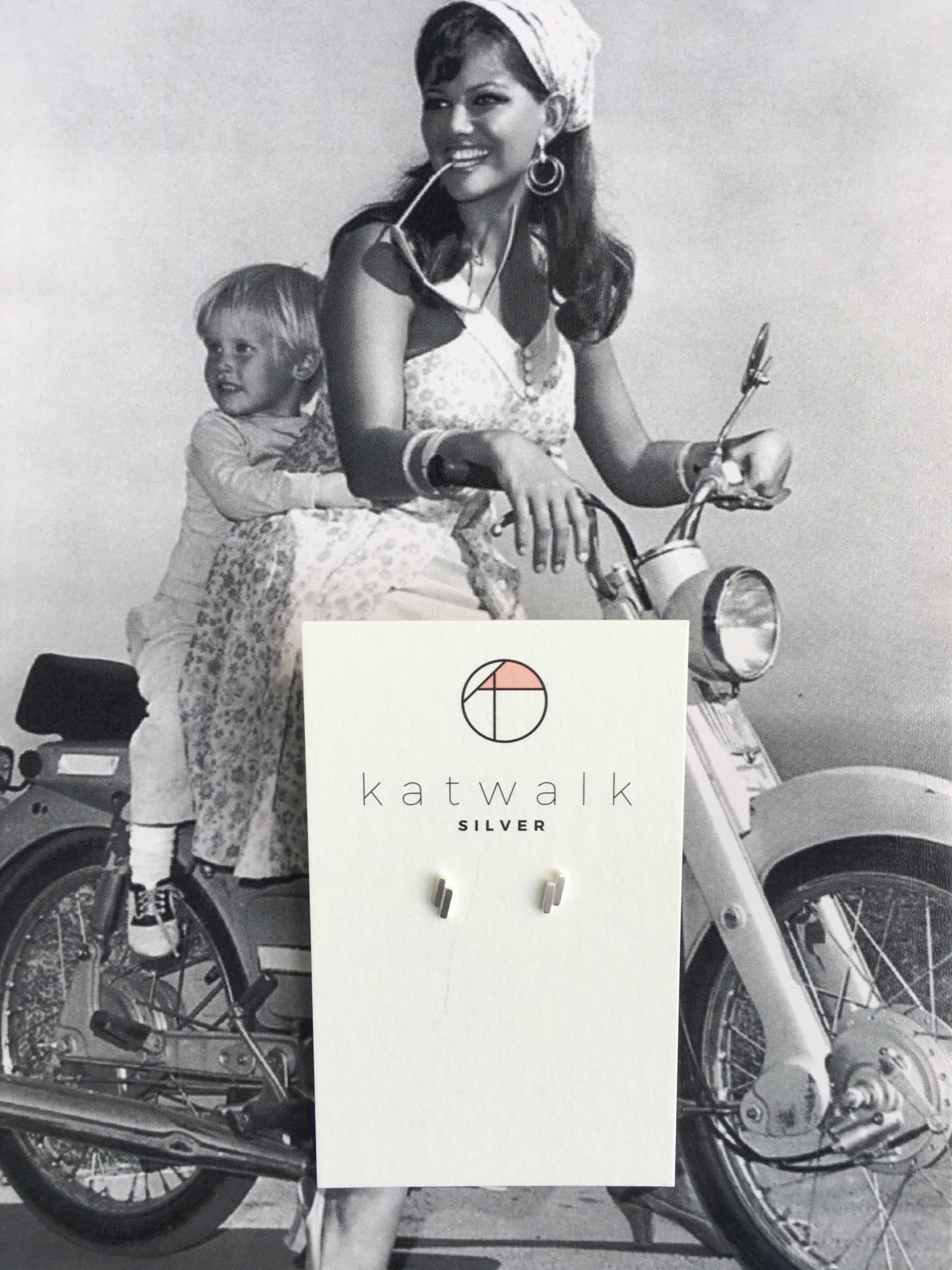 Katwalk Silver Silver earrings double stripe (SEMF27172)