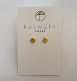 Katwalk Silver Silver earrings gold plated - squares (SEMG8344)