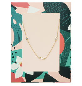 With love Necklace Love mom - zircone stone gold