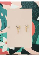 With love Earrings Love mom - zircone stone gold