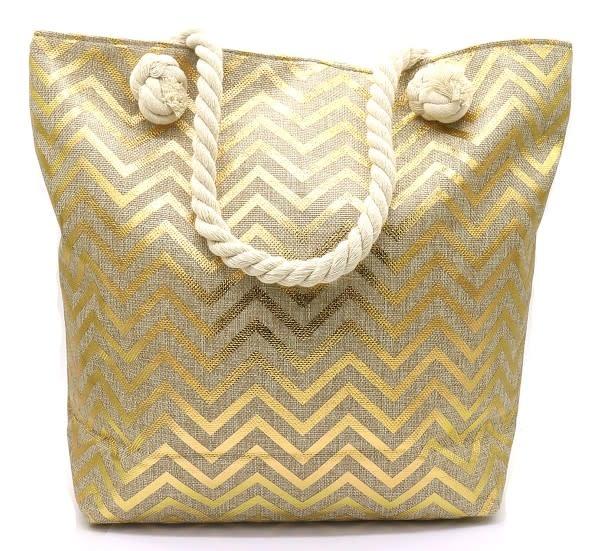 With love Beach bag zig zag gold  - 44 x 38 x 15cm