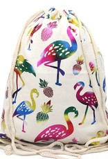 With love Canvas backpack - metallic flamingos 43 x 33 cm