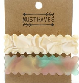 With love Set 2 hair clips pearl - multi 6.5 cm