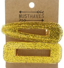 With love Set 2 hair clips glitter gold 7 cm