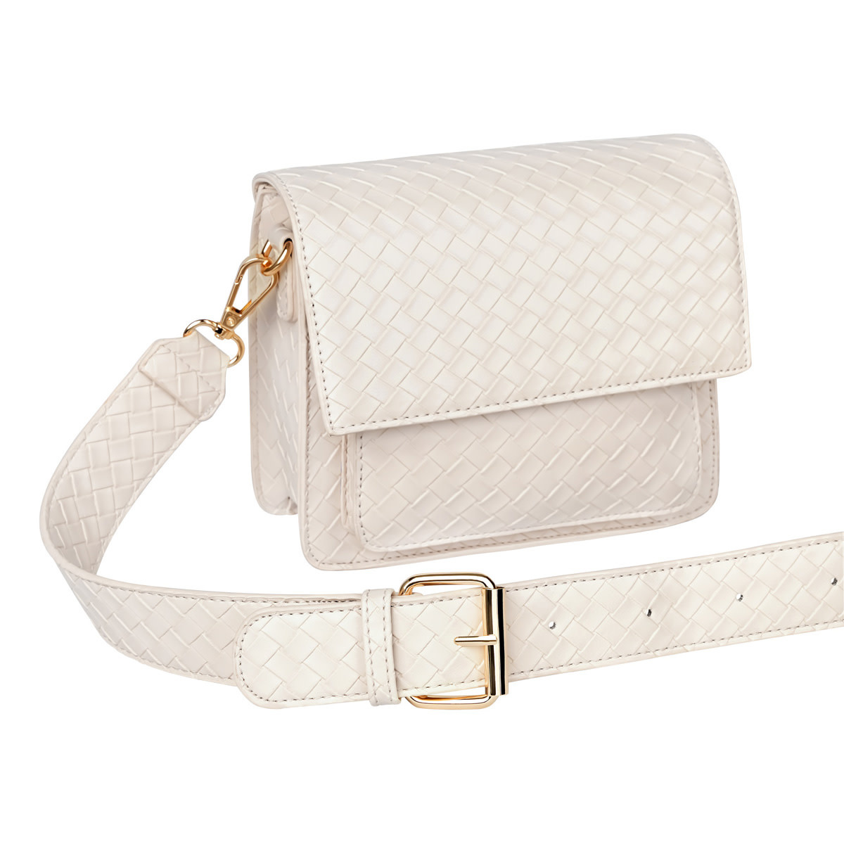 With love Bag braided  Cream 18cm x 15cm