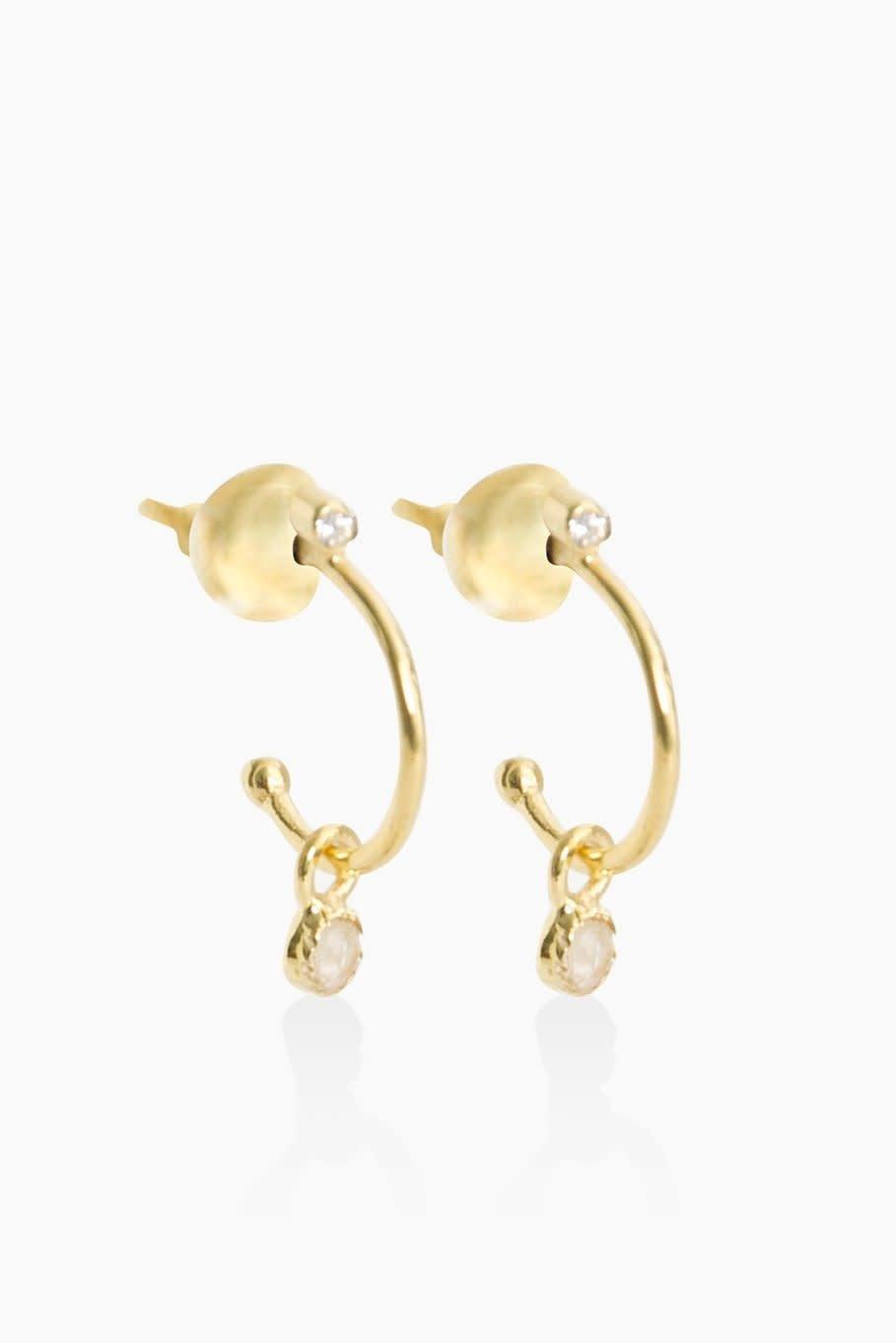 Détail Earrings Henriette moonstone gold plated (8822)