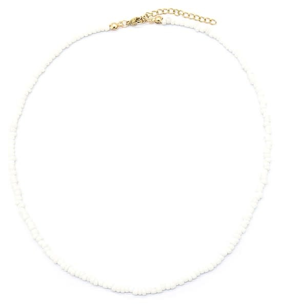 With love Necklace with Glass Beads - White