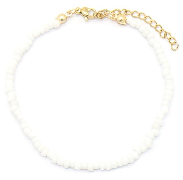 With love Bracelet with Glass Beads - White