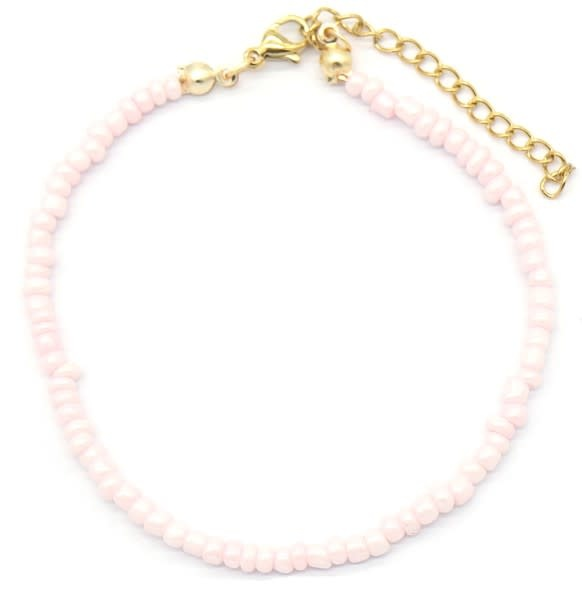 With love Bracelet with Glass Beads - Light Pink