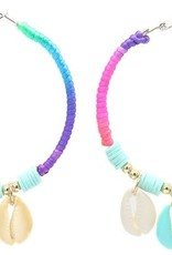 With love Earrings 5.5cm Creoles Shells Multi-Blue