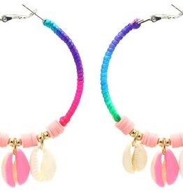 With love Earrings 5.5cm Creoles Shells Multi-Pink