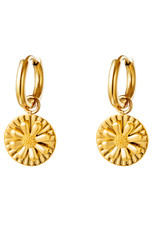With love Earrings daisy charm gold