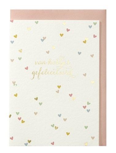 Papette Papette greeting card + enveloppe 'Van hartjes gefeliciteerd'