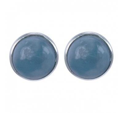 Treasure Silver earrings facet larimar 6 mm