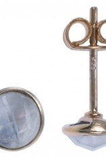 Treasure Silver earrings facet moonstone 6 mm