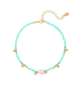 With love Anklet shell aqua
