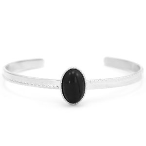 With love With love open bangle silver - Black nature stone