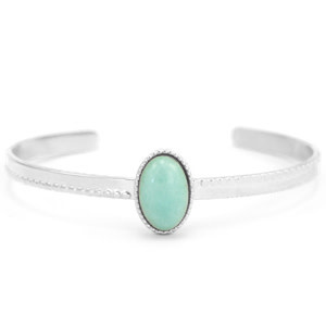 With love With love open bangle silver - Amazonite nature stone