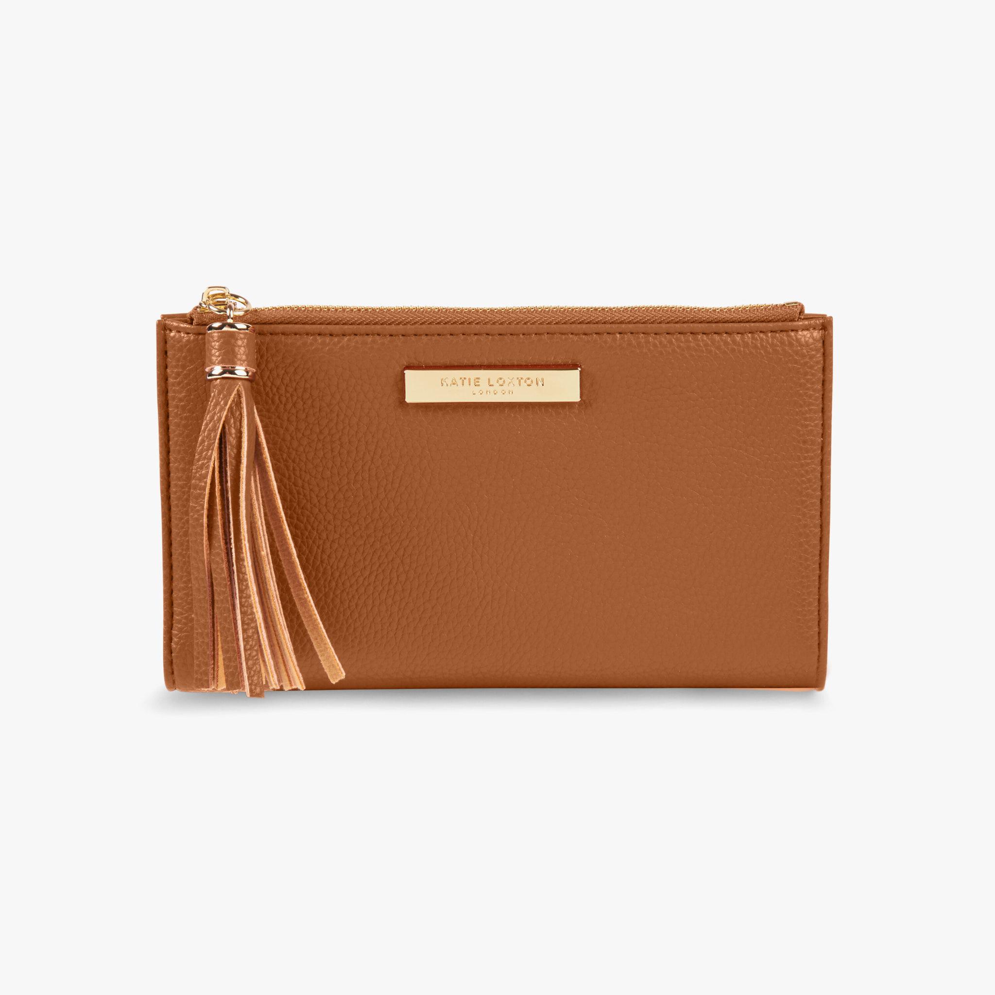 Katie Loxton Sophia tassel fold out purse  - Cognac - 11 x 19 cm