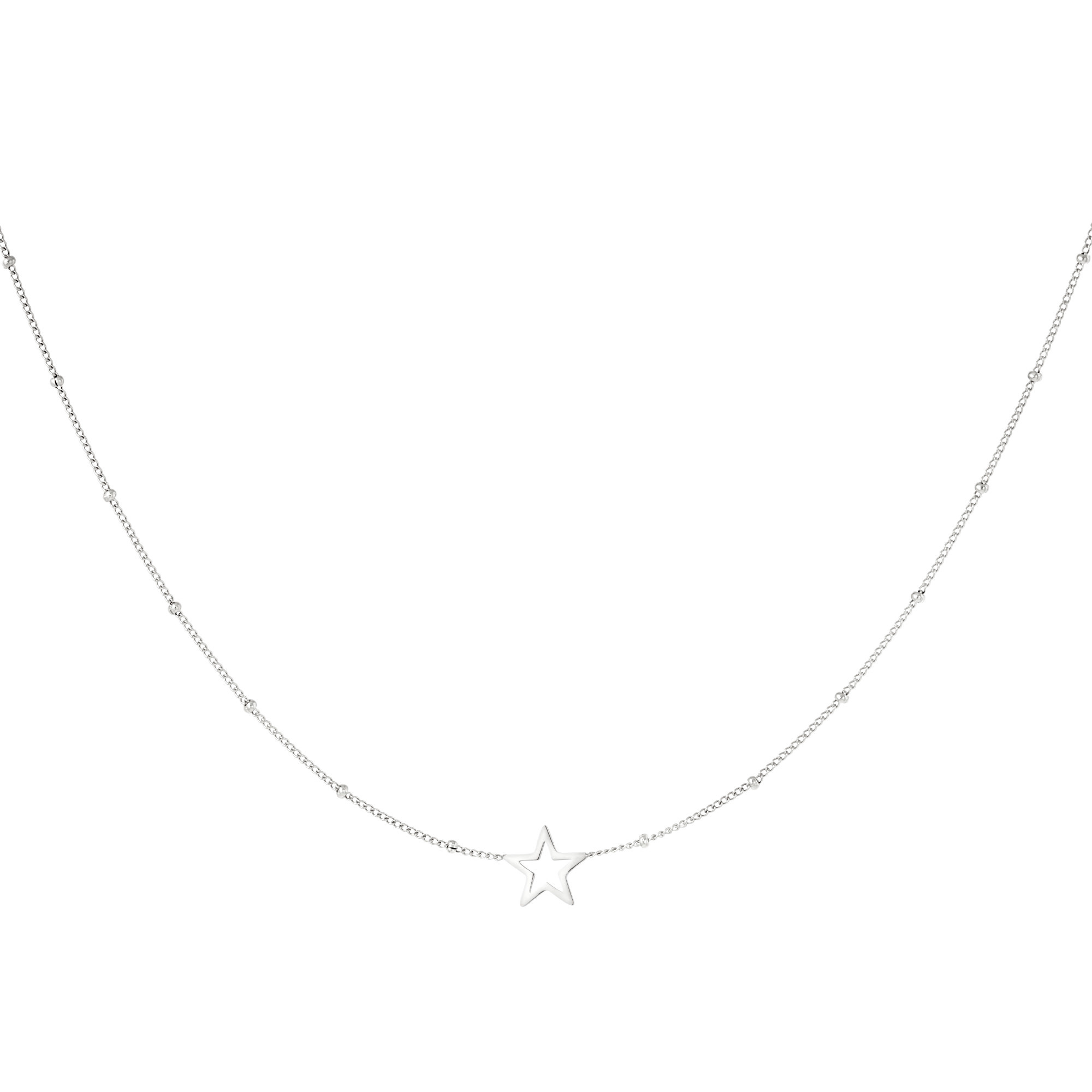 With love Necklace dotted open star silver