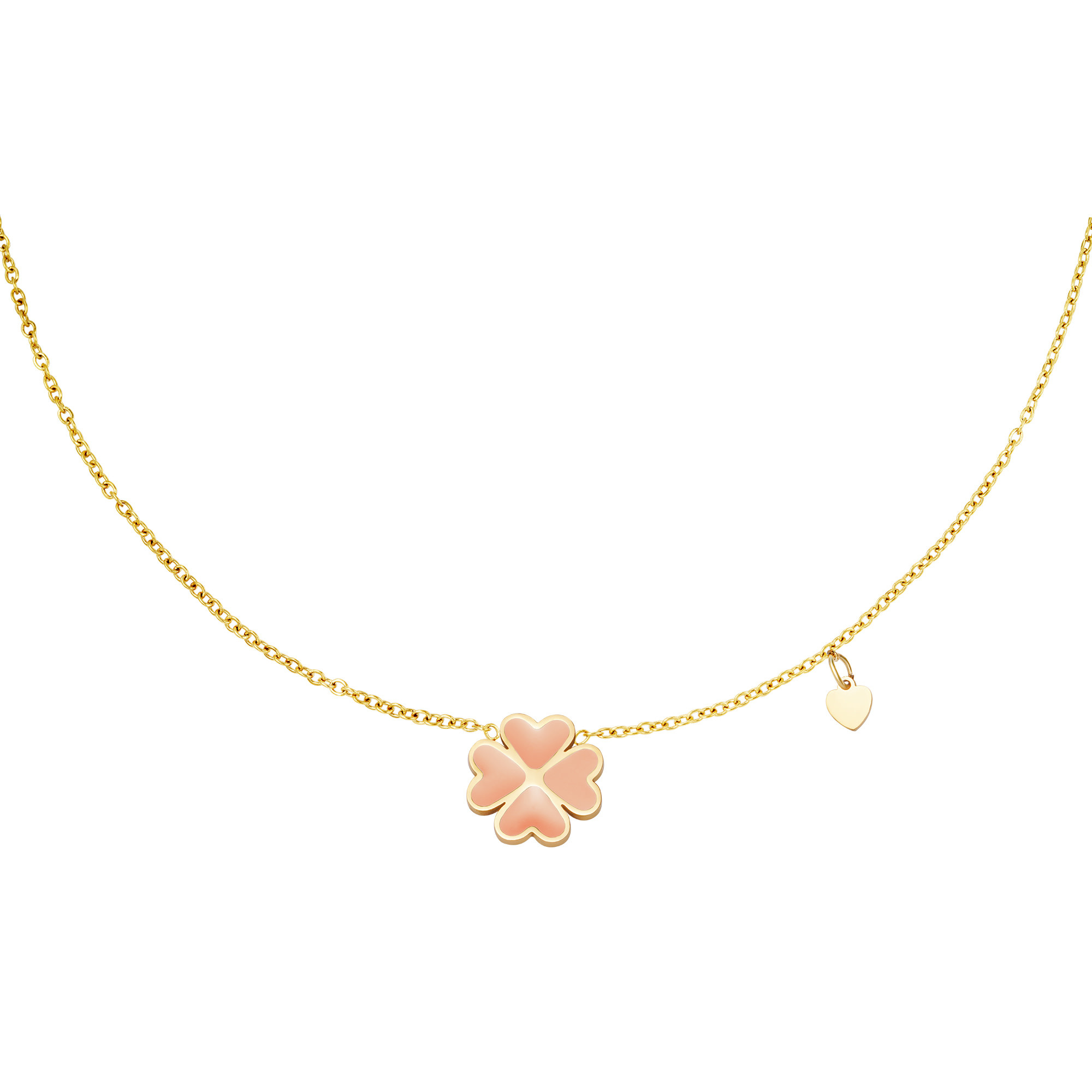 With love Necklace good luck pink gold