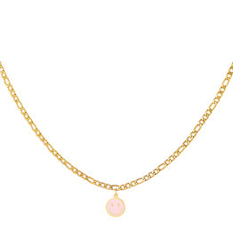 With love Necklace smiley pink gold