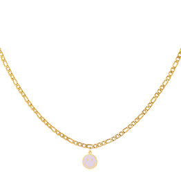 With love Necklace smiley lilac gold