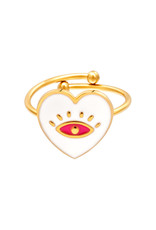 With love Ring eye heart white