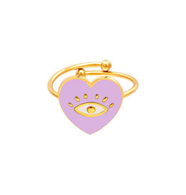 With love Ring eye heart lilac