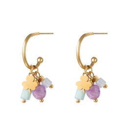 With love Earrings good luck purple
