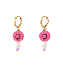 With love Earrings smiley pearl pink