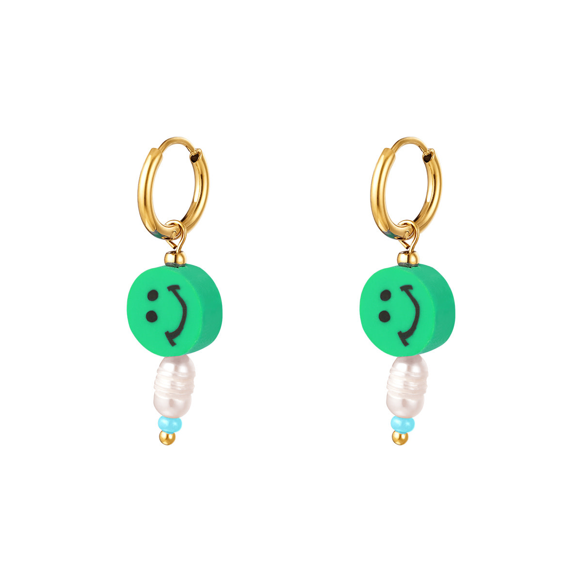 With love Earrings smiley pearl green