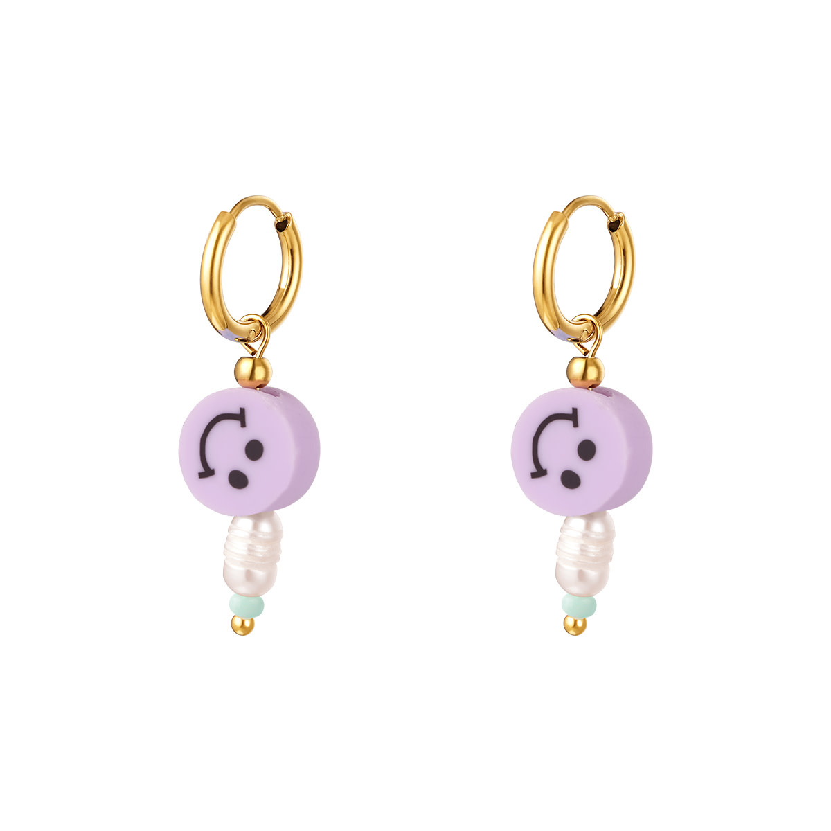 With love Earrings smiley pearl lilac