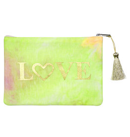 With love Tie dye LOVE pouch - yellow 18cm x 12cm