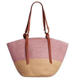 With love Straw shopper - pink 53cm x 30cm x 12cm