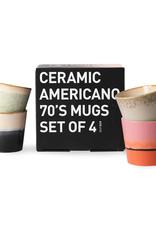 HK Living Ceramic 70's americano mugs - (set of 4)  11,5x8,5x8cm